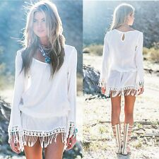 BOHO Ladies Long Sleeve Party Tassels Tops Womens Summer Beach Tunic Mini Dress