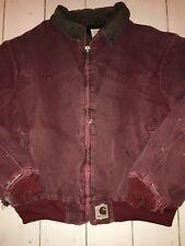 VTG CARHARTT JACKET Fleece Lined WESTERN TRUCKER XL MEN WORK Burgundy PATINA