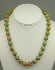 Unakite Stone Epidote Gemstone Hand Knotted Necklace Green Pink 12mm Beads