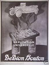 PUBLICITÉ 1925 DEDION BOUTON LES ASSISES D'UNE RÉPUTATION - ADVERTISING