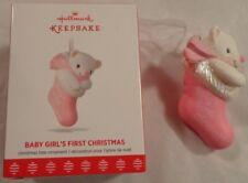 HALLMARK KEEPSAKE ORNAMENT BABY GIRL'S FIRST CHRISTMAS TEDDY STOCKING NIB 2