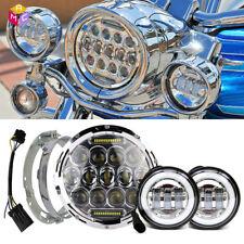 """For Harley Davidson Touring Road King 7"""" LED Daymaker Headlight +4.5"""" Led Lights"""