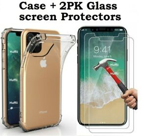 Case 2 Screen Protector iPhone 12 11 Pro Max XR 6 7 8 Plus X SE 2020 Cover Clear