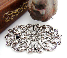 ANTIQUE SILVER Floral Cartouche Plaque Filigree Stamping Oxidized (C-806)