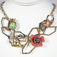 Betsey Johnson Buzz Off Crystal Frontal Necklace Bird Flower Butterfly Gold Tone