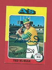 TED KUBIAK OAKLAND A'S SIGNED AUTOGRAPHED 1975 TOPPS VINTAGE BASEBALL CARD