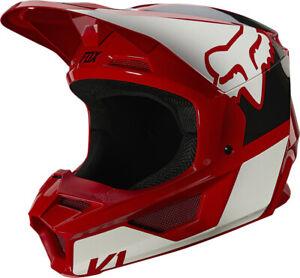 Fox Racing V1 Revn Helmet Youth Flame Red Size M 25875-122-YM