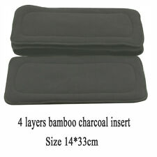 1PC Reusable 4 Layer Bamboo Charcoal Insert Baby Washable Cloth Diaper Nappy Use