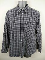 MENS JAMES PRINGLE NAVY BLUE/WHITE CHECKED BUTTON UP LONG SLEEVED SHIRT L LARGE