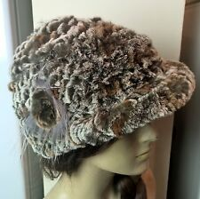 brown white grey grey real genuine rabbit fur knitted hat head warmer unisex