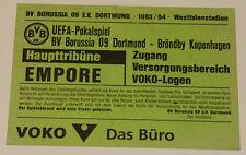 Ticket for collectors UEFA BVB Borussia Dortmund Brondby Copenhagen 1993 Denmark