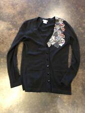 Oscar De La Renta black 2-3 ply beaded Cashmere Silk Blend Cardigan Sweater S