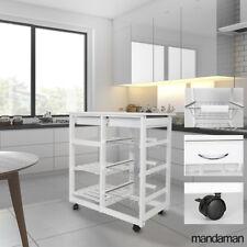 Küchenwagen Servierwagen Trolley Beistellwagen Küchenregal Rollwagen Weiß