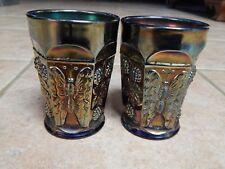 VTG  FENTON  CARNIVAL GLASS BUTTERFLY & BERRY 2 COBALT BLUE  TUMBLERS