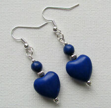 Blue Howlite Beaded Drop/Dangle PIERCED Earrings Jellybean*