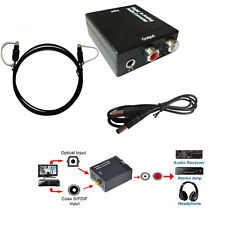 SPDIF Coax Optical Digital to Analog RCA 3.5mm Audio Converter+1.5m Optic Cable
