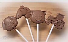 farm/sheep/horse/chicken/tractor/cow/ Belgian chocolate lollies/lollipops x 8
