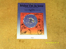 THE CURE sheet music Friday I'm in Love GUITAR TAB  1992 11 pp. (VG+ shape)