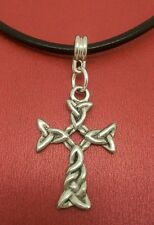 Celtic Cross Necklace Pewter charm pendant on Leather religion