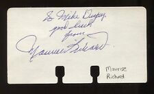 Maurice Richard Signed Card Autographed Hockey Cut Signature Index Card Paper