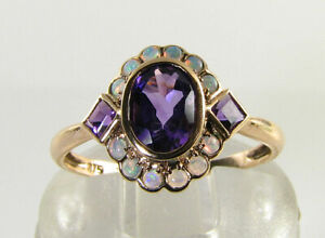 DAINTY 9K 9CT ROSE GOLD AMETHYST AUS OPAL ART DECO INS CLUSTER RING FREE RESIZE