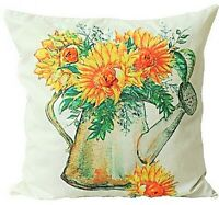 UK Handmade Embroidery Sunflower Cotton Cushion Cover with Invisible Zipper