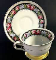 RIDGWAYS CUP & SAUCER THE TAPESTRY RED & BLUE FLORAL GOLD ACCENTS VINTAGE