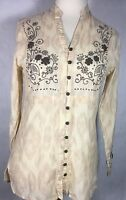 The Territory Ahead Woman's Beige Long Sleeve Blouse W/Brown Embroidery Size S