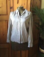 Talbots Pure Silk Button Down Blouse Grey Gray Size 14P Secretary Work Wear
