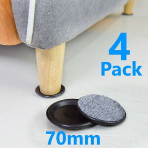 4 x Large 70mm Black Padded Castor Cups Floor Carpet Chair Furniture Protectors