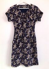 NW3 By Hobbs Silk Blue Butterfly Print Short Sleeve Dress Size 8