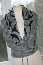 SARAH PACINI Superbe  gilet cache coeur gris-noir en laine  TU  ORIGINAL  +++
