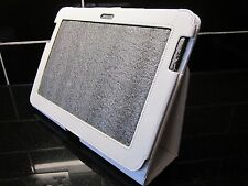 White/Cream Samsung Galaxy Note N8000 Litchi Leather Carry Case /Angle Stand