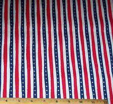 USA Patriotic Stars Stripes Fabric 1yd 100% Cotton Winham Metallic Gold