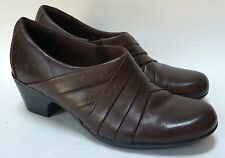 Clarks Collection Tige De Cuir  Brown Pleated Heels Shoes Size 7M