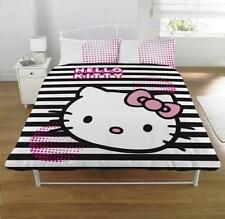 Hello Kitty Grafica Nera e Bianca a Righe Set Copripiumino Letto Matrimoniale QUILT COVER SET