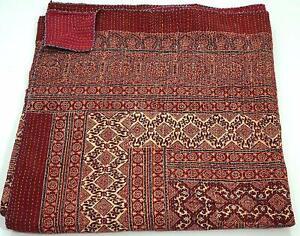 Indian Bohemain Bedding Vintage Ethnic Cotton Ajarkh Kantha Quilt Coverlet