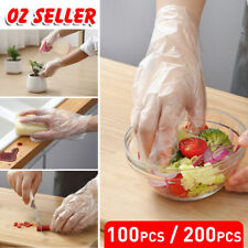 100/200pcs Plastic Disposable Gloves Transparent Food Handling Hygienic Catering