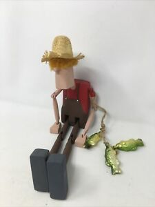 "Country Vintage Handmade Wooden FOLK ART 13.25"" Jointed Dancing Fisherman toy"