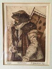 "Wood Framed Artisan Signed D.Guardino Original 1976 Etching Print ""Nobleman"""