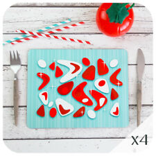 Atomic Boomerang Placemats (4), Aqua and Red American Diner Placemats, 50s style