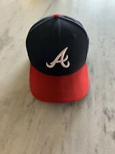 New Era Atlanta Braves HOME 59Fifty Fitted Hat (Dark Navy/Red) MLB Cap - 7 3/8