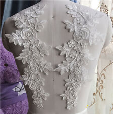 1 Pair Applique Lace Trim Embroidery Sewing Motif  DIY Wedding Bridal Crafts