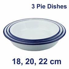 Falcon Enamel Oven Round Pie Dishes - Set of 3 - 18cm, 20cm, 22cm