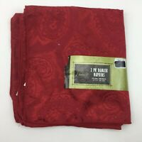 Harvest 2 Pack Damask Napkins Red Paisley Dinner Table Linens Elegant Formal