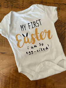 Baby Boy Girl Unisex 3-6 months Pep&Co My First Easter Bodysuit White Good Cond