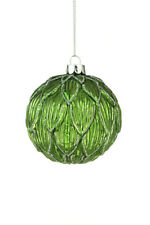 5 x Luxury Green Glass Baubles Christmas Tree Decorations Artichoke Leaf Design