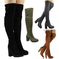 NEW WOMENS LADIES BLACK THIGH OVER THE KNEE HIGH HEEL PLATFORM BOOTS SHOES SIZE