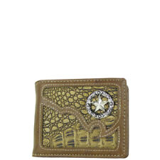 BROWN CROCODILE STAR MENS COUNTRY WESTERN SHORT BIFOLD WALLET NEW WEST WOLF