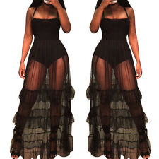 Women's spaghetti strap mesh sheer patchwork ruffled long club party prom dress